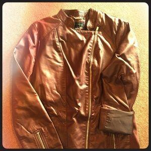 Beautiful cognac leather-like motor jacket (Med)